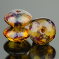Disc Spacer (7x4) Amber Brown Transparent with Picasso Finish