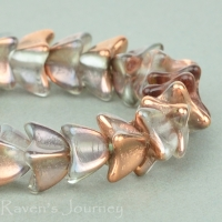 4 Point Bellflower Cap (5x7mm) Crystal Copper Transparent with Copper