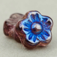 Flat Flower (7mm) Amethyst Purple Transparent with Blue Iris Finish Half-Coat