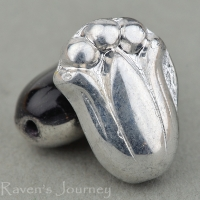 Tulip (12x8mm) Jet Opaque with Silver Half Coat