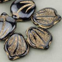 Wide Leaf (14x12mm) Hematite Opaque with Gold Wash