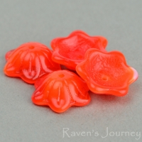 Wide Bellflower (12x6mm) Orange White Mix Opaline