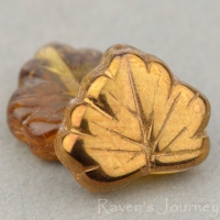 Maple Leaf (13x11mm) Amber Transparent with Bronze