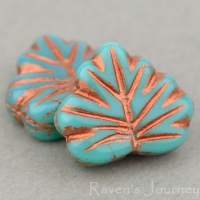 Maple Leaf (13x11mm) Turquoise Opaque with Copper Wash