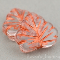 Maple Leaf (13x11mm) Crystal Copper Transparent with Copper Wash