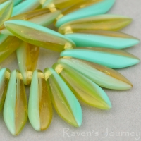 Medium Dagger (16x5mm) Turquoise Green Amber Mix Opaque Transparent