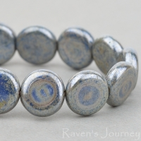 Coin (8mm) Blue Hematite Finish Opaque