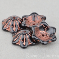 Wide Bellflower (12x6mm) Jet Opaque with Copper Wash