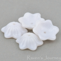 Wide Bellflower (12x6mm) White Silk with Pink Undertone