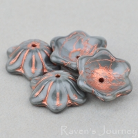 Wide Bellflower (12x6mm) Grey Silk with Copper Wash