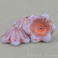 Wide Bellflower (12x6mm) Lilac Opaline with Copper Wash