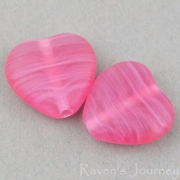 Pressed Heart (10mm) Fuchsia Pink Crystal Mix Transparent Opaque Matte