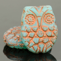 Horned Owl (18x15mm) Aqua Blue Opaline with Copper Wash
