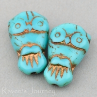 Owl (18x11mm) Turquoise Opaque with Bronze Wash