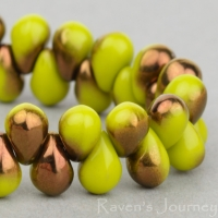 Pressed Drop (6x4mm) Gaspeite Green Opaque with Bronze Halfcoat