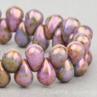 Pressed Drop (6x4mm) Purple Greenstone Finish Opaque