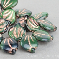 Wide Leaf (15x12mm) Green Malachite Opaque with Copper Wash
