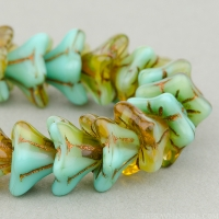 5 Point Bellflower (6x9mm) Turquoise Amber Mix Transparent Opaque with Dark Bronze Wash