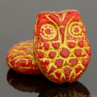 Horned Owl (18x15mm) Orange Opaque with Gold Wash
