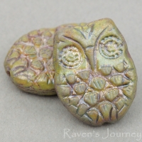 Horned Owl (18x15mm) Greenstone Finish Opaque