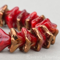 5 Point Bellflower (6x9mm) Red Opaline with Bronze