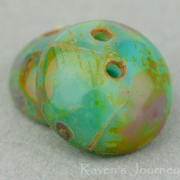 Two Hole Piggy Bead (8x4mm) Turquoise, Aqua, and Green Mix Transparent Opaque with Picasso