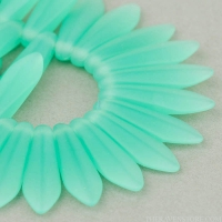 Medium Dagger (16x5mm) Green Aqua Opaline Matte