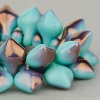 Small Spade (11x8mm) Turquoise Opaque with Bronze Half-Coat