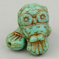 Owl (18x11mm) Green Turquoise Opaque with Bronze Wash