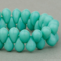 Pressed Drop (6x4mm) Turquoise Opaque