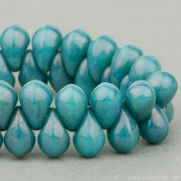 Pressed Drop (6x4mm) Turquoise Opaque with Purple Luster