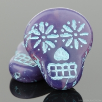 Sugar Skull (20x17mm) Purple Opaline with Turquoise Wash