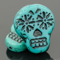 Sugar Skull (20x17mm) Turquoise Opaque with Black Wash