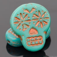 Sugar Skull (20x17mm) Turquoise Opaque with Copper Wash