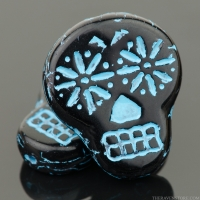 Sugar Skull (20x17mm) Jet Black Opaque with Turquoise Wash
