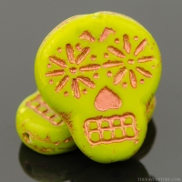 Sugar Skull (20x17mm) Gaspeite Green Opaque with Copper Wash
