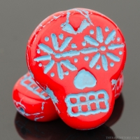 Sugar Skull (20x17mm) Red Opaque with Turquoise Wash