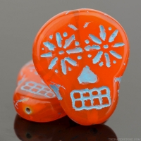 Sugar Skull (20x17mm) Orange Opaline with Turquoise Wash