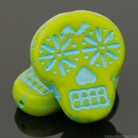 Sugar Skull (20x17mm) Gaspeite Green Opaque with Turquoise Wash