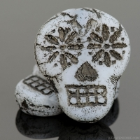 Sugar Skull (20x17mm) White Opaque Matte with Black Wash