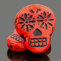 Sugar Skull (20x17mm) Coral Red Opaque with Black Wash