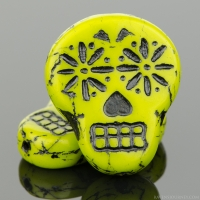 Sugar Skull (20x17mm) Gaspeite Green Opaque with Black Wash