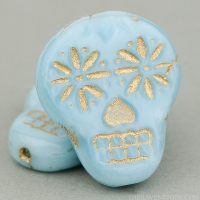 Sugar Skull (20x17mm) Sky Blue Silk with Gold Wash