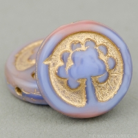 Coin with Tree (14mm) Lavender, Fuchsia, and Pink Silk with Gold Wash