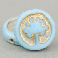 Coin with Tree (14mm) Sky Blue Silk with Gold Wash