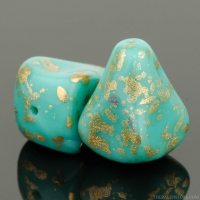 Old Style Drop (12x10mm) Turquoise Opaque with Anitque Gold Finish