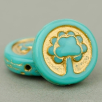 Coin with Tree (14mm) Turquoise Opaque with Gold Wash