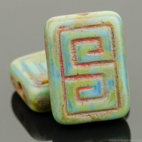 Greek Key Rectangle (13x9mm) Blue Rust Opaque with Picasso Finish