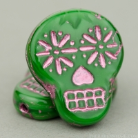 Sugar Skull (20x17mm) Green Silk with Pink Wash