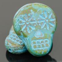 Sugar Skull (20x17mm) Turquoise Opaque with Picasso Finish and Blue Wash